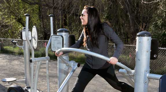 Outdoor fitness equipment for moms at public parks.