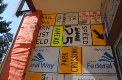 Installed upcycled road signs