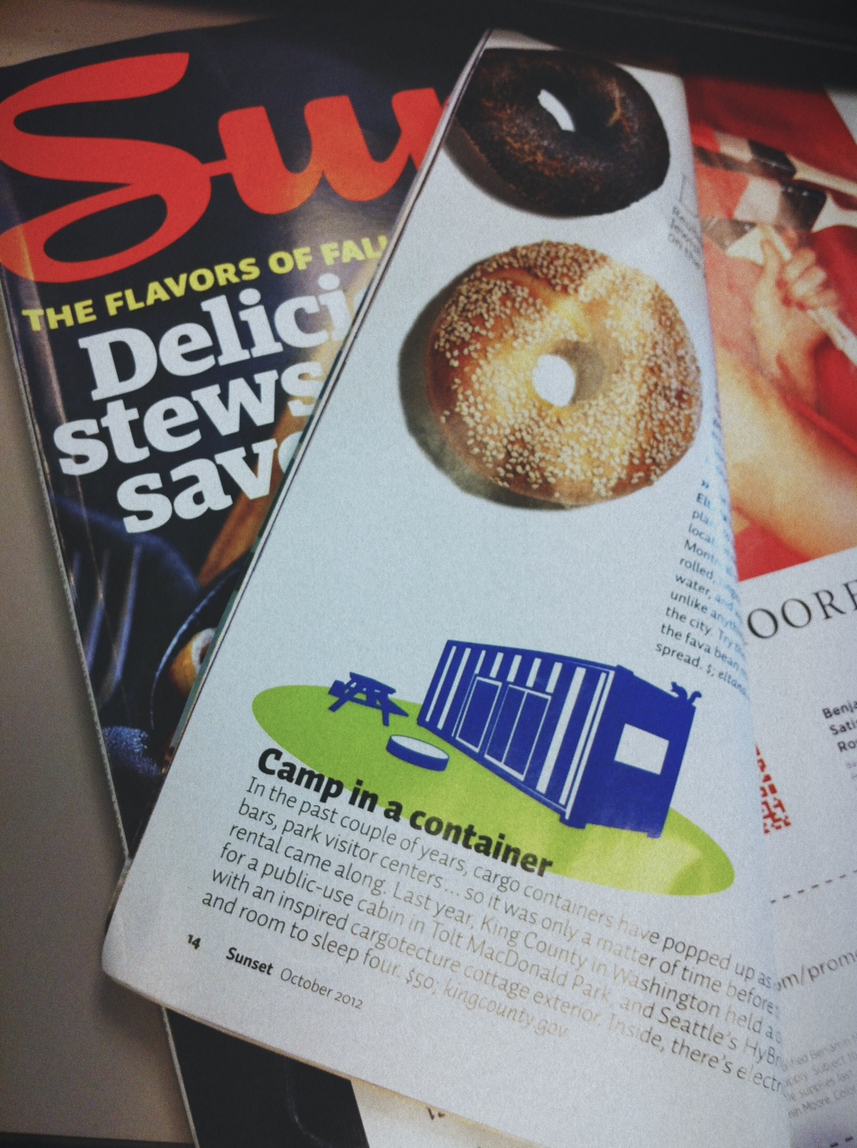 Sunset magazine with camping container profiled