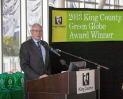 Deputy King County Executive Fred Jarrett presents the 2013 Green Globe Awards