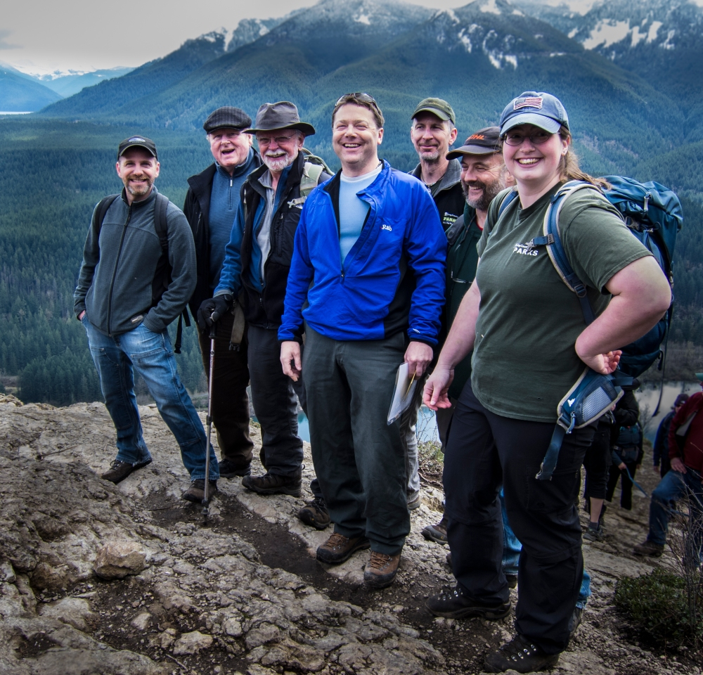 View from Rattlesnake Ledge. Left to right: Brett Roberts (KC), David Kimmett (KC), Mike Owens (WTA), Gary Brown (KC), Rob Stait (KC), Jack Simonson (KC), Melissa Perozzo (KC). Photo by Joe Hofbeck.
