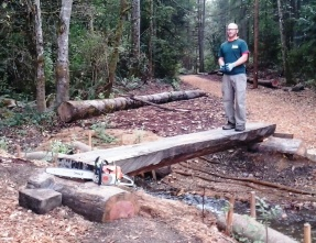 Maplewood Park salvaged wood bridge in progress