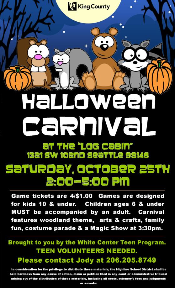 White Center Teen Program Halloween Carnival