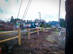 Post and rail installation along Burke-Gilman in Kenmore