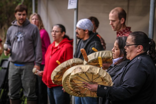Snoqualmie Tribe giving a prayer before planting