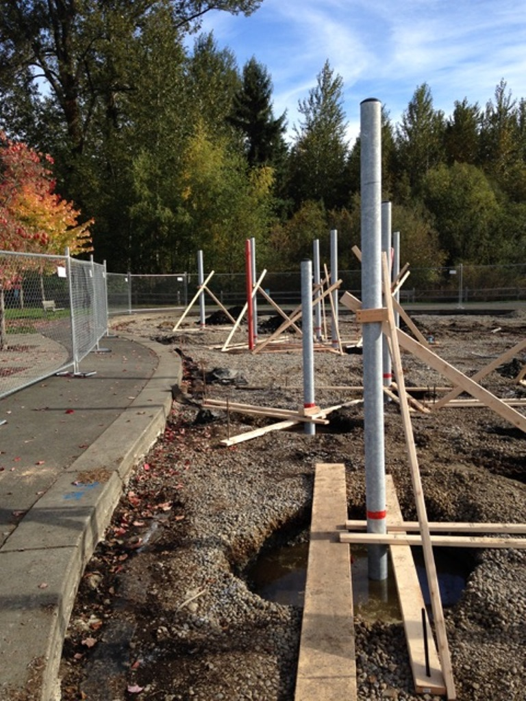 New posts being laid out at Cottage Lake Playground