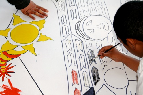 WCTP participants work on a mural, c. 2007