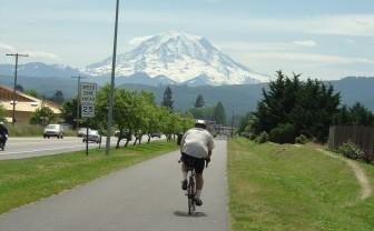 Mt. Rainier rises in the background