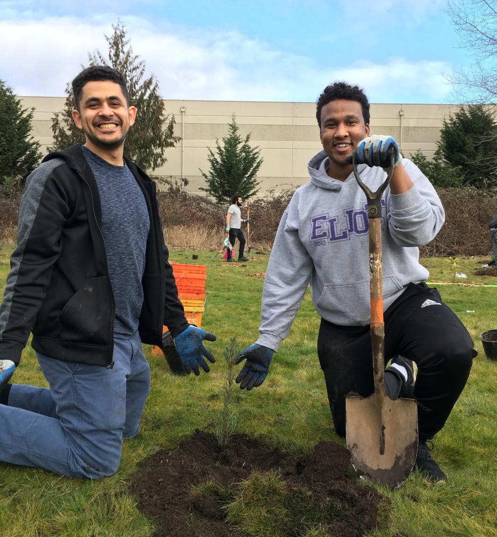 volunteers planting super