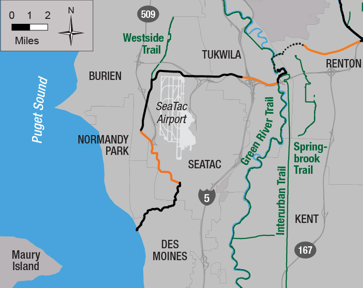 A map of the lake to sound trail showing the existing and future segments and the current under construction.